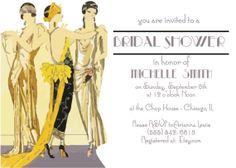 "DIY Printable Bridal Shower Invitations / ""Deco Ladies"" / Wedding Party Invite / Vintage Art Deco Ladies / Yellow & Lavender / Great Gatsby"