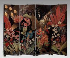 Jean DUNAND (1877-1942) et François-Louis SCHMIED (1873 - 1941) «La forêt» Rare paravent présentant quatre panneau
