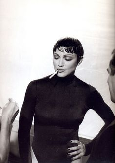 Madonna even looks good with short black hair back in the day...