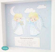 Geschenk für Zwillinge zur Geburt, Taufgeschenk Zwillinge und Geschwister, Schutzengel Bild Zwei Engel Mond blau 4