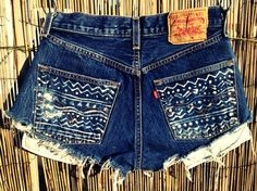 High waisted denim shorts with DIY pockets