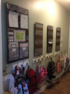 Love the vertical storage here used in a mud room or drop zone for keeping kids papers and school work organized and ready to go! Shown here are the Hang Up organizers from Thirty-One Gifts plus coat hooks hung at kid-level