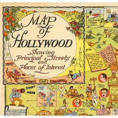 """Hollywood Pictorial Map 1928 Vintage Giclee Fine Art Print 18""""x 21"""" ($28) ❤ liked on Polyvore featuring home, home decor, wall art, comic book wall art, giclee wall art, map home decor, comic wall art and map wall art"""