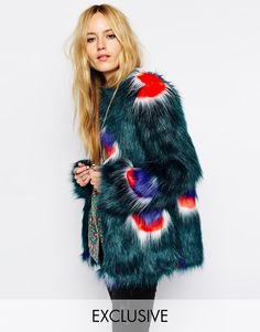 Image 1 ofStory Of Lola Short Faux Fur Coat With Peacock Pattern