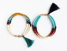 Multicolor Beaded Friendship Bracelet with Tassel Triple strand bead bracelet in bone, chocolate, turquoise, butterscotch yellow and gold with a