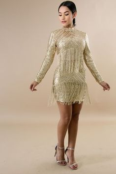 b7ee972a468 Fringed Sequin. Fringe DressStretch FabricMock NeckBodycon DressPlus Size  ...