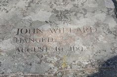 memorial to john willard at the salem witch trials memorial . Witchcraft History, Witch History, Cemetery Statues, Cemetery Art, Salem Witch Trails, King James I, Salem Mass, Carlin, Witch Trials