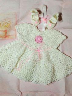 Crochet Dress Set Baby Christening Dress Set by PPbabyboutique