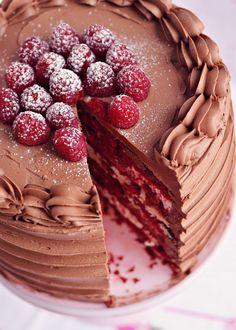 Red Velvet & Raspberry Supreme Cake via Sweetapolita