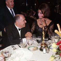 9 April 1962: Sophia Loren is pictured at dinner with her film producer husband Carlo Ponti after winning the Best Actress Academy Award for her emotional performance in Two Women
