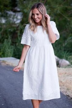 Flower Applique Eyelet Dress
