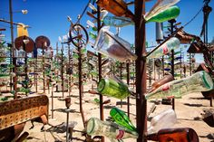 A trip to Elmer's Bottletree Ranch is a trip to a beautiful piece of art in the middle of the California desert. Located on Route 66 this is a great stop for the whole family to enjoy.