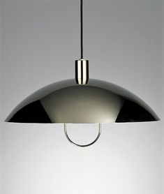 Marianne Brandt Pendulum Light  Marianne Brandt Designed 1925  Produced by Technolumen  Mirror polished nickel-plated aluminum with pulley and counterweight