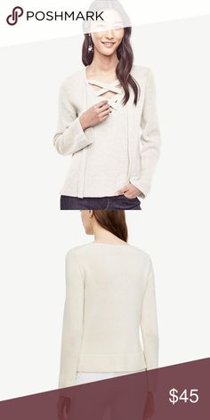 deeb626726839 Ann Taylor White Wool Cashmere Lace Up Sweater Ann Taylor Women s White  Wool Cashmere Lace Up