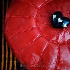 Red Moroccan Ottoman with kisii stone