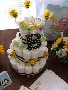Bee themed diaper tower @Heidi Bridges Baby Bee =)