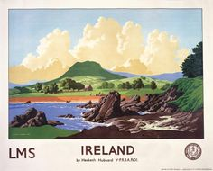 Travel Poster of Cushendall in County Antrim, Northern Ireland. The original travel poster was produced for the London Midland & Scottish Railway (LMS) to promote rail travel to Northern Ireland. Circa 1944