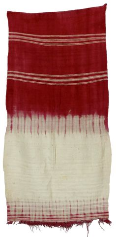 Africa | Veil from Morocco | Cotton/wool; woven with stripes and with a fringe at one end, dyed with a claret-red dye on one half