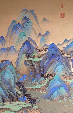 Japanese Artwork, Japanese Painting, Chinese Painting, Chinese Art, Chinese Landscape, Landscape Art, Japon Illustration, Arte Sketchbook, Art Japonais