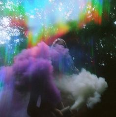 Colourful smoke in the forest