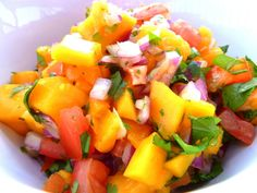 I was trying to come up with a clever name for this mango salsa and for mango week on my Pregnancy Foodie Project , but I just couldn't thi. Paleo Recipes Easy, Clean Eating Recipes, Whole Food Recipes, Cooking Recipes, Yummy Recipes, Diet Recipes, Yummy Food, Mexican Salsa Recipes, Mango Salsa Recipes