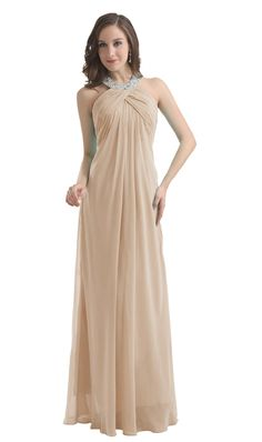 Diyouth Long Chiffon Prom Bridesmaid Dresses Beaded Halter Backless Evening Gowns Champagne Size 8