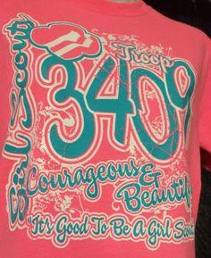 Women's Adult size S/CH/P Logo Graphic Girl Scout T-Shirt Pink Aqua Troop 3409