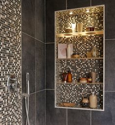 The most beautiful wall tiles for a decorative bathroom - Dare to be original to counterbalance with the large black tiles - Bathroom Furniture Design, Washroom Design, Bathroom Design Layout, Toilet Design, Bathroom Design Luxury, Home Room Design, Modern Bathroom Design, Home Interior Design, Shower Remodel