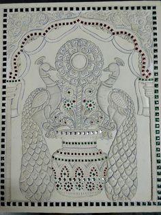 Mysore Painting, Madhubani Painting, Peacock Painting, Peacock Art, Clay Wall Art, Mural Wall Art, Paris Painting, Jewelry Design Drawing, Ganesha Painting