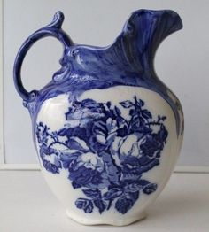 English Staffordshire flow blue water pitcher, c.1890s