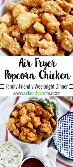 Air Fryer Popcorn Chicken: Make Once, Eat Twice Recipe - Make Once, Eat Twice Recipe - Urban Bliss Life - Chicken Recipes Air Frier Recipes, Air Fryer Oven Recipes, Air Fryer Chicken Recipes, Air Fryer Recipes Gluten Free, Air Fryer Recipes Appetizers, Air Fryer Dinner Recipes, Recipes Dinner, Game Day Recipes, Drink Recipes