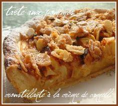 Recette tarte aux pommes croustillante à la crème de cannelle par Céline : Une texture fondante et crémeuse, une tarte croustillante au goût d'amandes caramélisées... une explosion de saveurs pour le palais..Ingrédients : sucre, beurre, lait, oeuf, pomme