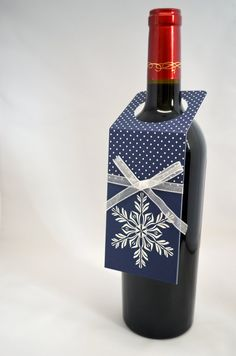 Snowflake Christmas Wine Bottle Tag in Blue by APaperParadise, $2.50
