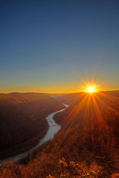 Sunrise over the New River, West Virginia - By Page Thomas