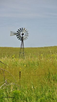Windmill in a field Tilting At Windmills, Old Windmills, Farm Windmill, Windmill Art, Blowin' In The Wind, Water Mill, Country Scenes, Back Road, Down On The Farm