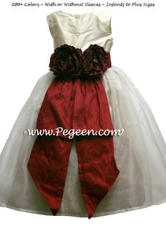 Tulle Dress Gold Cranberry and Bisque Silk Organza Flower Girl Dresses Style 313 Organza Flowers, Silk Organza, Red Flower Girl Dresses, Girls Dresses, Gold Dress, Tulle Dress, Wedding Girl, Custom Dresses, Fashion Dresses