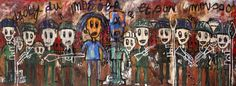 Aboudia, 'Djoly Du Mogoba' (Diptych), 2011, Acrylic and mixed media on canvas