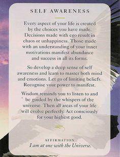 """Self Awareness"" - Wisdom Card – Diana Cooper"