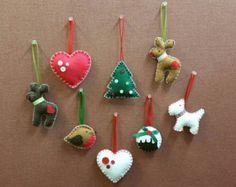 Artículos similares a Felt Christmas Ornaments made by Miki ALL HAND-MADE en Etsy