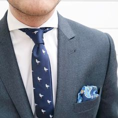 The Seagull Bird Tie is reminding us of where we'd rather be. It's been a damn hot week in Melbourne! Design Palette, Slim Tie, Tie And Pocket Square, Skinny Ties, Dark Navy Blue, Melbourne, Cool Designs, Bird, Hot