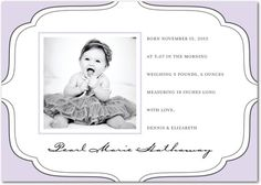 Girl Photo Birth Announcements Dear Details - Front : Lavender