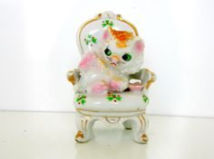 Vintage Kitten in Chair Porcelain Cat In Arm by nanascottagehouse, $12.00