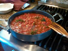 delicious marinara sauce from scratch {use this recipe: http://afoodcentriclife.com/roasted-tomato-marinara-sauce-with-garlic-and-oregano}