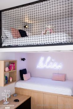 DANS LE FILET Realization WOM Design – Stéphanie MICHEL-GIRARD Photo credit © Isabelle Picarel Room with mezzanine renovated for a teenage girl around a feminine and airy atmosphere # filet # mezzanine # room # adolescent # menuiseriessurmesure # menuis Room Design Bedroom, Girl Bedroom Designs, Room Ideas Bedroom, Home Room Design, Small Room Bedroom, Bedroom Decor, Childs Bedroom, Bed Room, Mezzanine Bedroom