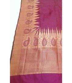 Purple Banarasi Handloom Katan Soft Silk Opara Saree