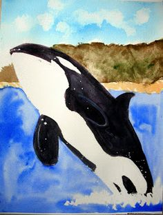 Isabella's orca (Age 4) Classroom Art Projects, Art Classroom, 4th Grade Art, Whales, Watercolors, Art For Kids, Age, Animals, Art For Toddlers