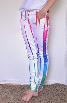 Jeans Makeovers - Random Rainbow White Jeans - Easy Crafts and Tutorials to Refashion Your Jeans and Create Ripped, Distressed, Bleach, Lace Edge, Cut Off, Skinny, Shorts, and Painted Jeans Ideas http://diyprojectsforteens.com/diy-jeans-makeovers