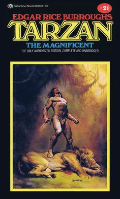 BORIS VALLEJO - art for Tarzan the Magnificent by Edgar Rice Burroughs - 1976 Ballantine paperback