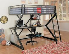 This Coaster Furniture Bunks Collection Workstation Full Loft Bed - Matte Black is perfect for a teen's bedroom or a college student. This loft. Bunk Bed Sets, Loft Bunk Beds, Bunk Bed With Desk, Modern Bunk Beds, Full Bunk Beds, Bunk Beds With Stairs, Kids Bunk Beds, Desk Bed, Full Bed