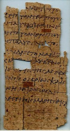 Papyrus manuscript of the gospel of John from an early copy of the New Testament in Greek. It contains only one leaf with the text of John 6:8-12.17-22. Found in Egypt, dates from around 250 AD and its located at the Palestine Institute Museum Pacific School of Religion in Berkeley California.